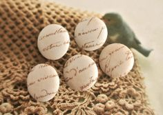 Fabric Buttons Covered Buttons Word Buttons Script by RetroNaNa, $4.50 Fabric Covered Button, Covered Buttons, Script Words, French Script, North And South America, Beige, Rustic, Country, Brown