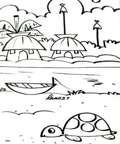 By rano Drawing Images For Kids, Scenery Drawing For Kids, Easy Drawings For Kids, Art Drawings Sketches Simple, Bird Drawings, Pencil Art Drawings, Pencil Sketches Landscape, Nursery Drawings, Spongebob Painting