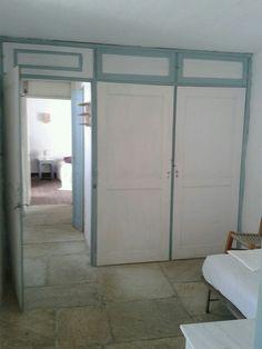 Flagstone floor, white walls