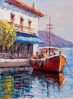 Easy Landscape Paintings, Modern Art Paintings, Seascape Paintings, Sailboat Art, Sailboat Painting, Boat Drawing, Ship Paintings, Sea Art, Gouache