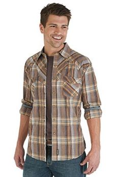 Wards Apparel | Wrangler Retro® Long Sleeve Spread Collar Plaid Shirt - Mooresville, IN
