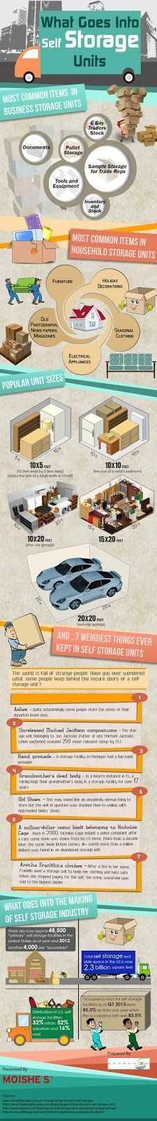 Common Items for Business and Household Storage Units - This colorful infographic provides useful information about common items kept in #storage_units, popular sizes, fun facts about strange objects found in units and what goes into the making of #storage_facility.