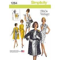 Misses Vintage 1960s Dress, Coat and Vest Simplicity Pattern 1284.