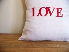 Love EMBROIDERED valentines day pillow  red  linen by jennilyons81, $19.99