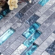 Online Shop [Mius Art Mosaic] Blue color Strip crystal mosaic tile & marble mosaic tile for kitchen backsplash A4N008|Aliexpress Mobile