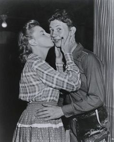 Judy Garland kisses Donald O'Connor for his birthday.