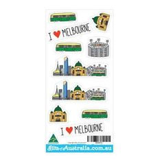 Australian Made Gifts & Souvenirs with the I Love Melbourne Sticker Sheet -by Bits of Australia. For the best Australian online shopping for a Souvenirs