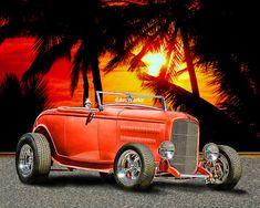 Classic Deuce Roadster  '32 Ford  Hot Rod Art Street by ArtWorkz, $20.00