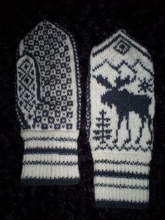 MåneSkygge's Hobbyblogg: Elg-Votter unnagjort! Mittens Pattern, Mitten Gloves, Knitted Hats, Drops Design, Wrist Warmers, Hand Warmers, Drops Baby, Knitting Patterns, Deer