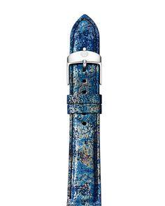 Michele Horizon Blue Leather Watch Strap