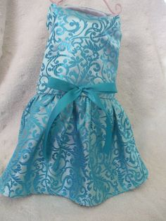 Elegant teal blue dog dress with matching bow by chicdoggieattire, $12.00