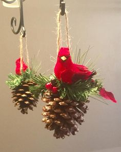 Cardinal on Pinecone Christmas Ornament