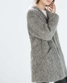 Zara structured collarless coat
