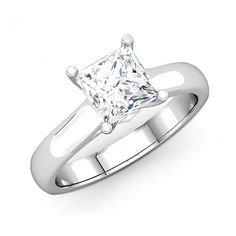 This beautiful princess cut diamond semi mount solitaire ring crafted in 14K white gold.