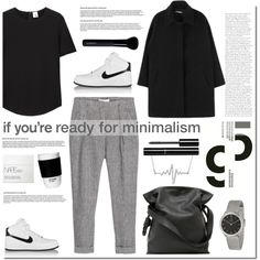 Ready for minimalism by anna-anica on Polyvore featuring Iris & Ink, MANGO, NIKE, Loewe, Calvin Klein, Chanel, Givenchy, NARS Cosmetics and ROOM COPENHAGEN