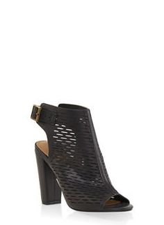 c63db387416 Laser Cut Peep Toe High Heel Booties - BLACK - 1111004063737