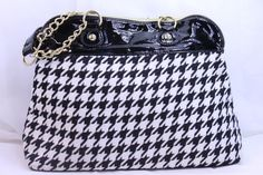 Betsy Johnson Black + White Houndstooth Patent Leather trim Purse Pocketbook Gol #BestyJohnson #Hobo