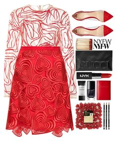 """""""NYFW: Glam"""" by seannna-hale ❤ liked on Polyvore featuring Malaikaraiss, Christopher Kane, Gianvito Rossi, Gucci, Smashbox and Lodis"""