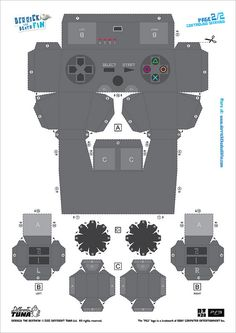 controller paper template by PlayStation Europe Playstation, Paper Games, Paper Toys, Paper Folding Crafts, Paper Crafts, Diy Arts And Crafts, Crafts For Kids, Video Game Party, Fathers Day Cards