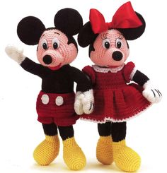 Crochet Mickey and Minnie Mouse.