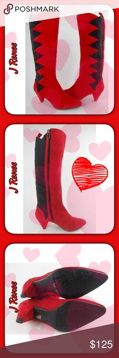 """❤️ J Renee Suede Boots NWOT ❤️ These boots are GORGEOUS!!!! ❣️❣️ They are NWOT; were store display boots. They've never been worn. The red part of the boot is suede and the black part is a series of thick wide elastic strips sewn together to give the boots some stretch all the way down if needed. The heel is 3"""". J Renee Shoes Heeled Boots"""