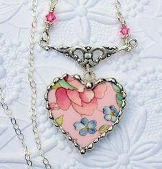 Broken China Jewelry China Heart Pendant by Robinsnestcreation1, $49.95: