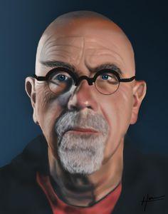 "Art Chuck Close digital painting 11""x14"""