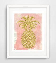 Gold pineapple wall print, pineapple print, pineapple art, pink watercolor, gold decor, tropical decor, printable art, 5x7, INSTANT DOWNLOAD by Ikonolexi on Etsy
