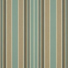 Sunbrella Kiawah Spa Awning Stripe Fabric Sold By The Yard Awning Shade, Outdoor Awnings, Outdoor Cover, Custom Cushions, Decorative Panels, Sunbrella Fabric, Striped Fabrics, Acrylic Colors, Outdoor Fabric