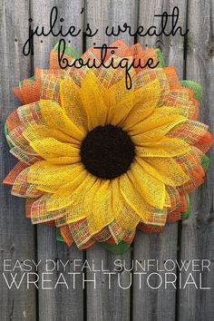 Diy Wreath Tutorial, Front Door Wreath Tutorial, Wreath For Your Front Door, Burlap Sunflower Wreath, Sunflower Burlap Wreath, DIY Craft, DIY Home Decor, Interior Design, Curb Appeal, Julie's Wreath Boutique Tutorial, #JuliesWreathBoutique #DIYHomeDecor