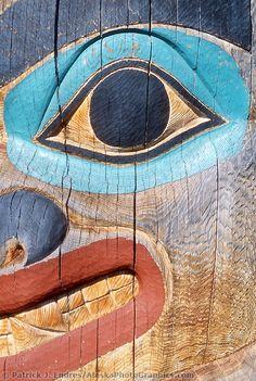 Totem pole section at the University of Alaska, Fairbanks museum, Fairbanks, Alaska.