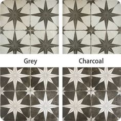 These examples of Star Night and Star Nero tiles finished with grey and charcoal grout show the impact different colors can have on your tile install. Cement Tile Backsplash, Wall Tiles, Grouting Tile, Star Night, Stars At Night, Floor Stickers, Tile Decals, Shower Floor, Mosaic Patterns