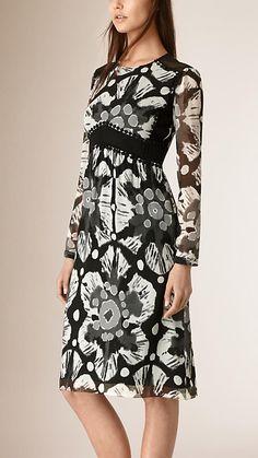 Preto e branco Vestido de renda e crepe de chine com estampa tie-dye - Imagem 1