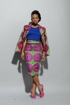 NEW African print pencil skirt pink/green by RAHYMA on Etsy ~African fashion, Ankara, kitenge, African women dresses, African prints, Braids, Nigerian wedding, Ghanaian fashion, African wedding ~DKK