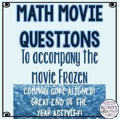 Math movie questions to accompany frozen great christmas