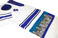 Viscose Tallit Set - Jerusalem Design, Tallis Clips Tallis Clip by ZionJudaica. $206.74. Fine Viscose Tallit Set - beautiful Jerusalem scene designed, appliqued and highlighted with accent ribbons. Original creations by Jan Marie Lanier and Nicole Curl. Price includes the Tallis, Bag, Kipah and Tallit Clips.