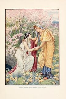 Demeter rejoiced for her daughter was by her side oil painting by Walter Crane, The highest quality oil painting reproductions and great customer service! Walter Crane, Narcissus Plant, Renaissance, Greek Gods And Goddesses, Greek Mythology, Classical Mythology, Roman Mythology, Pagan Festivals, Hades And Persephone