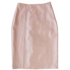 Plakinger Pink Leather Pencil Skirt ($630) ❤ liked on Polyvore featuring skirts, powder pink, pink leather skirt, pink skirt, below knee skirts, pencil skirt and real leather pencil skirt