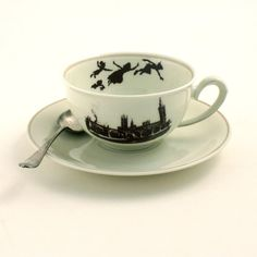 Altered  Peter Pan Cup Saucer Porcelain Dreams Barrie Tea Coffee Cocoa London England Sugar-White Brown Romantic
