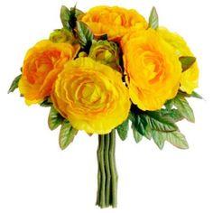 "9"" Ranunculus Silk Flower Bouquet -Yellow (case of 12)  $100"