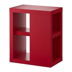 VIKA ANNEFORS Table leg with storage - red - IKEA; 13.75x22.875x27.5 high - at ends of stainless tops?