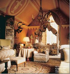 Nancy Lancaster chose a gold and cream Aubusson rug for the gothic bedroom at Hasley Court designed in the 1950's with the help of the legendary John Fowler. Image courtesy cotedetexas blog.