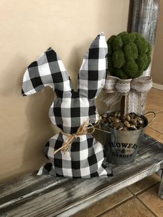 Buffalo check has been trending, so I decided to incorporate it in my Easter decor. I made an adorable stuffed bunny for my display. decorations How to Make a No Sew Stuffed Bunny DIY Spring Crafts, Holiday Crafts, Easter Crafts, Easter Decor, Bunny Crafts, Diy Decorations For Easter, Easter Ideas, Easter Dyi, Fabric Crafts