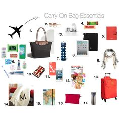 """Carry On Bag Essentials"" by whiskandbisque on Polyvore"