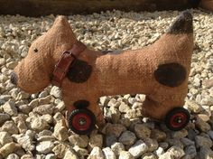 Retro dog on wheels