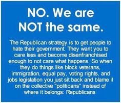 NO. We are NOT the same. The Republican strategy is to get people to hate their…