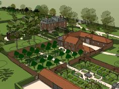 A sketch design for a old project Of ours in Norfolk with two new walled gardens. One and orchard and one a beautiful fully kitted out kitchen garden with a greenhouse, fruit cages, vegetable beds and a dipping pond. Fruit Cage, Vegetable Bed, Sketch Design, Norfolk, Designs To Draw, Design Projects, Pond, City Photo, Garden Design