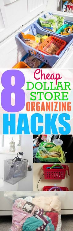 These 8 Dollar Store Organizing hacks are so helpful! I 'm so happy I found these AMAZING hacks! I can organize my home without spending a ton of money! Pinning for later!