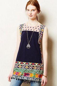 77076 NWT $98 Akemi + Kin Anthropologie Embellished Boho Lace Tunic Dress XL P #Anthropologie #Dress #Casual