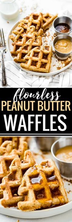 These Flourless Peanut Butter Waffles are not only easy to make, but also protein rich! All you need are a few healthy ingredients and they turn out light, fluffy, dairy free, and delicious! Freezable for breakfast meal prep or on simple grab and go! Truly one of our favorite waffle recipes!  www.cottercrunch.com